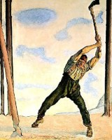 Holzfäller, Holzschläger, Stabschläger, Waldarbeiter