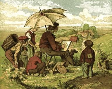 farbiger Siebdruck: junger Mann unter einem Sonnenschirm malt von einem Hügel aus ein im Tal liegendes Dorf, vier Jungen um ihn herum schauen neugierig zu