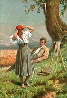 Gemälde: Frau betrachtet ihr Abbild auf der Staffelei, während der Maler auf der Wiese unter einem Baum liegend die Frau beobachtet