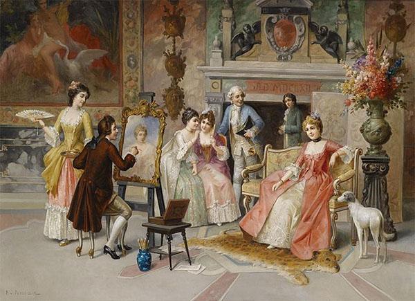 Gemälde: Portraitmaler malt feine Dame umringt von weiteren Damen und Herren - höfische Szene im Stil des 18. Jahrhunderts
