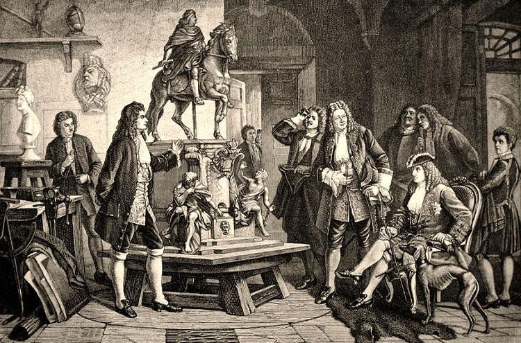 Kupferstich: Schlüter zeigt Friedrich I. und ihn begleitendem Hofstaat in seinem Atelier das Modell zum geplanten Reiterdenkmal