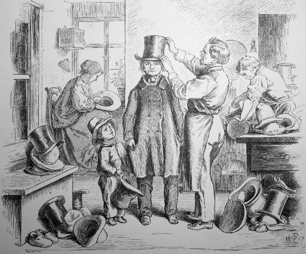 sw-Zeichnung: bei der Hutanprobe beim Hutmacher
