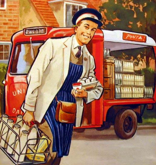 Milchmann bringt Milchflachen, Butter und Eier aus seinem Lieferwagen