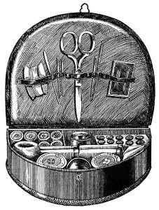 s/w-illu: altes kleines Nähkästchen mit Nähutensilien