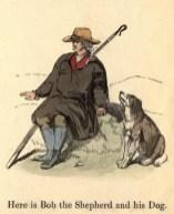 farbige Zeichnung: Schäfer sitzt auf Stein, neben ihm sein Hund