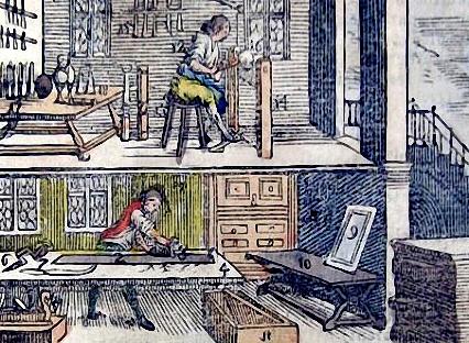 Zeichnung: Schreinerwerkstatt auf zwei Etagen