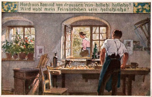 Schreiner an der Werkbank schaut am Fenster vorbeigehende Frau nach