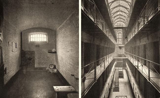 alte s/w Fotos vom Gefängnisinneren