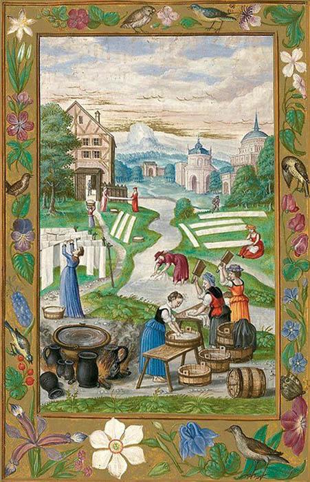 altes farbiges Bild: helle Textilien liegen auf dem Rasen zum Bleichen, Frauen arbeiten an Bottichen
