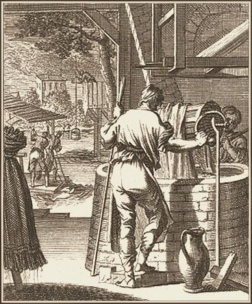 Kupferstich: Färber zieht Stoff mittels einer Winde durch Färberbottich; im Hintergrund waschen zwei weitere Stoffe im Fluß