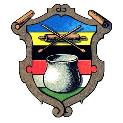 Wappen: mittig Farbbottich und darüber gekreuzte Holzlöffel über hölzerner Handwalze