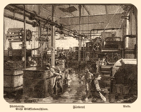 Stich: Fabrik mit Färbemaschinen und zahlreichen Arbeitern