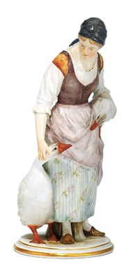 Gänsehüter, Gänsemagd, Porzellanfigur