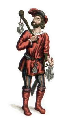 altkolorierter Stich: Kerkermeister mit Holzkeule, Schwert und vielen Schlüsseln: blau-rote Kleidung und Federn am Ballonhut
