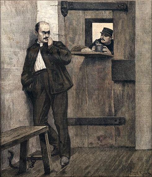 sw-Druck: Dreyfus in der Zelle bekommt vom Gefängniswärter Essen und Getränk durch die Türluke gereicht