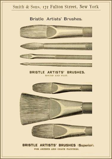 s/w Litho: verschiedene Formen von Borstenpinsel