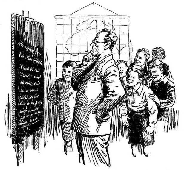 alte sw-Buchillustration: Lehrer steht mit Schülern grübelnd vor einer beschriebenen Tafel