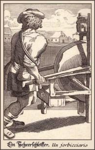 Stahlstich: Scheerenschleifer schiebt sein Schleifgerät wie eine Schubkarre vor sich her