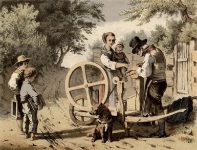 Farblithografie: Frau mit Kindern beim Scherenschleifer auf der Dorfstraße