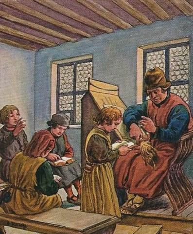 ein Lehrer und vier Schüler