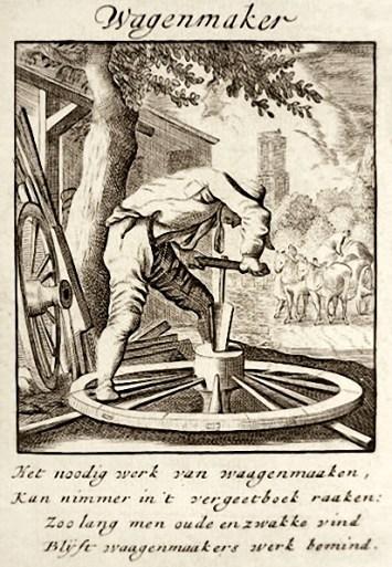 Wagenmacher bei der Arbeit am Rad mit Spruch in niederländischer Sprache