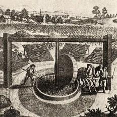 alter Stich: histor. Darstellung einer typischen Thüringer Waidmühle