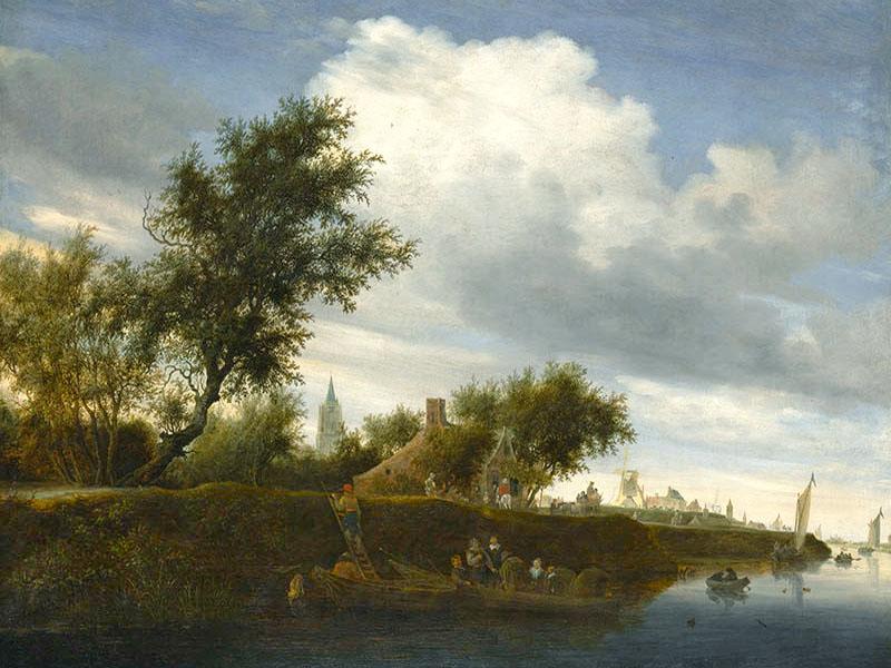 Gemälde: Fähre in holländischer Flusslandschaft