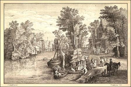 alter Stich: dörfliche Fähr-Anlegestelle am Fluss