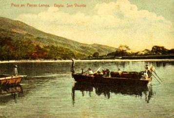 alte Postkarte: Fähre bei Flussüberquerung