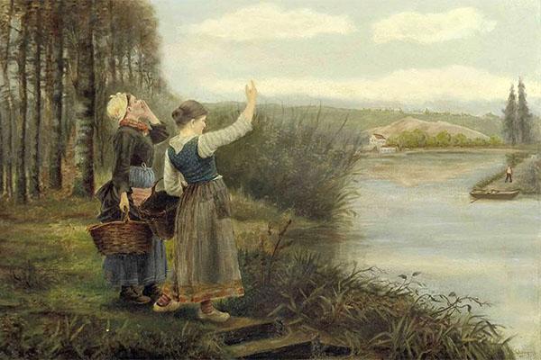 Gemälde: zwei Frauen rufen von einem Flußufer dem Fährmann am anderen Ufer