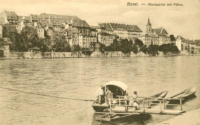 alte Postkarte: Rheinfähre in Basel
