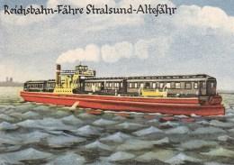 alte Postkarte: gemalte Eisenbahnfähre