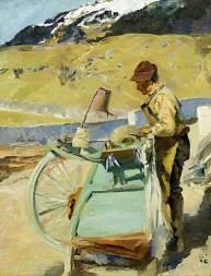 Gemälde: stehend arbeitender Mann vor sonnigem Gebirgspanorama mit Fluß im Tal
