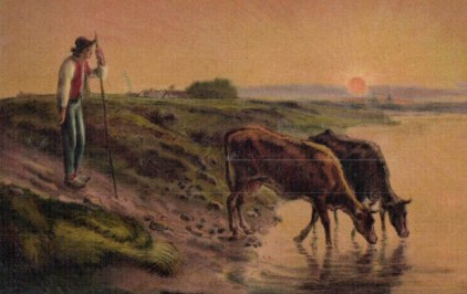 Kuhhirte mit zwei Kühen am Abend beim Wasser