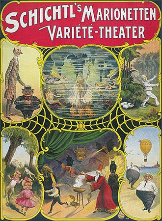 Plakat für Marionettentheater von 1908