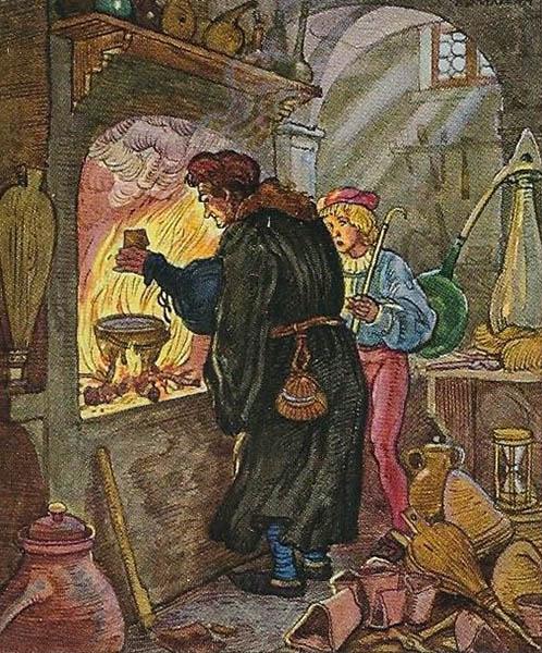 Alchemist mit seinem Lehrling