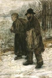 Gemälde: Lumpensammlerpaar im Winter - 1890
