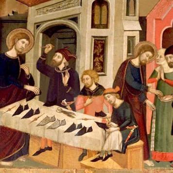 Gemälde: drei Schuhmacher demonstrieren an einem Tisch ihre Arbeit - 1346