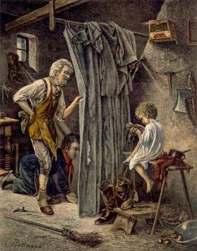 Gemälde: Vater und älterer Sohn beobachten durch einen Vorhang den Jüngsten, der seine Schuhe bürstet