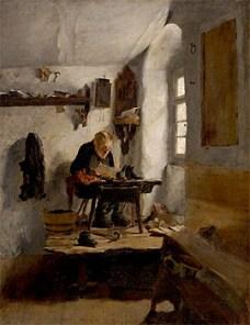 Gemälde: Schuster arbeitet auf Podest vorm Fenster