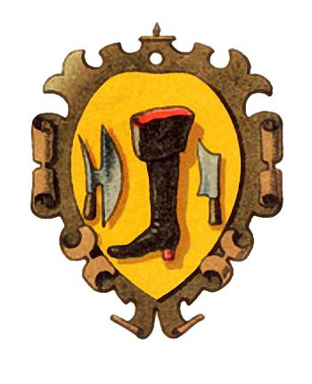 Farbdruck: ein Stiefel und zwei Werkzeuge auf gelbem Wappengrund, geschwungen umrahmt