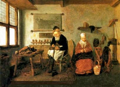 Gemälde: alter Schuster arbeitet auf einem Podest, daneben sitzt Frau bei Handarbeit