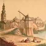 Farbige Zeichnung: Wäscherinnen am Fluß vor Stadttor