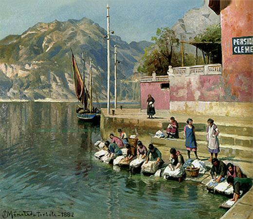 Gemälde: unterhalb einer Treppe zum See waschen dänische Frauen an Steinpodesten