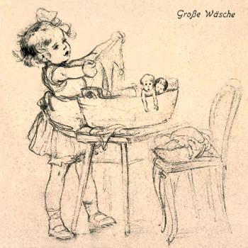 Kohle-Zeichnung: kleines Mädchen mit Puppen und deren Kleidung im Waschzuber