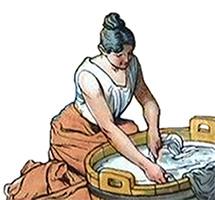 Farbillu: kniende Wäscherin am Waschbottich