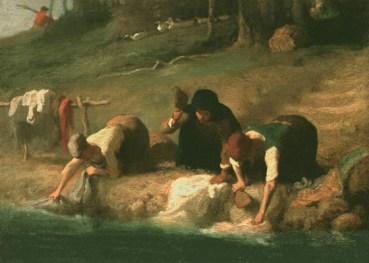 Gemälde: Wäscherinnen mit Wäscheklopfern am Fluß