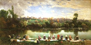 Gemälde: viel Wäscherinnen am Flußufer - um 1865