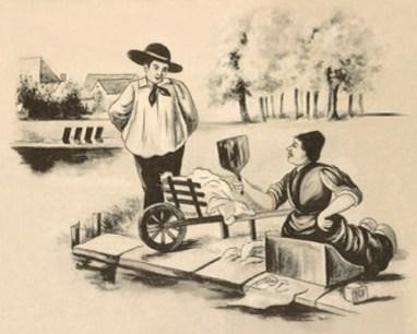 sw lavierte Zeichnung: kniende Wäscherin am See bearbeitet Kleidung mit einem Wäscheklopfer
