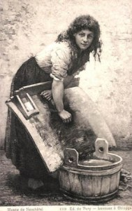 AK: Waschfrau am Waschbrett